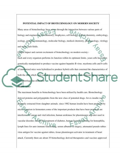 Potential impact of biotechnology on modern society essay example