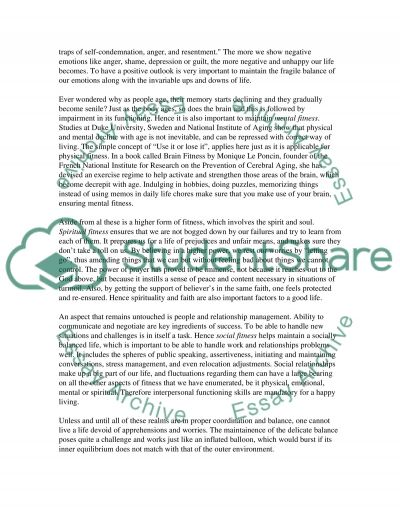 The Five Aspects of Fitness essay example