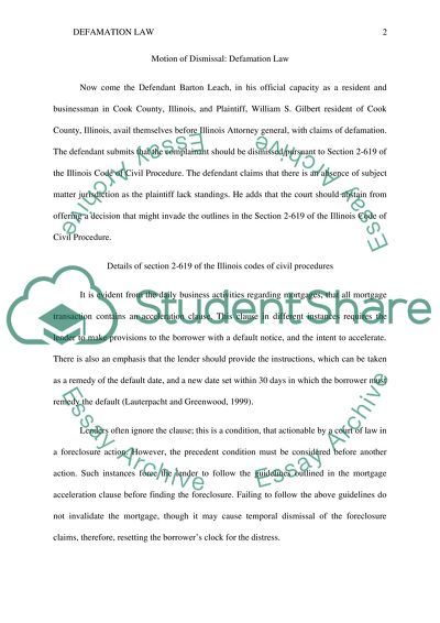 Motion Of Dismissal Research Paper Example Topics And Well