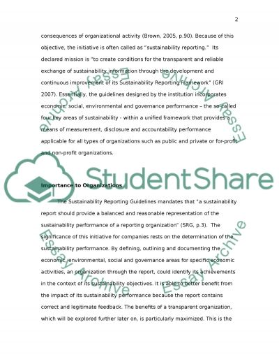 Global Reporting Initiative and Sustainable Reporting essay example