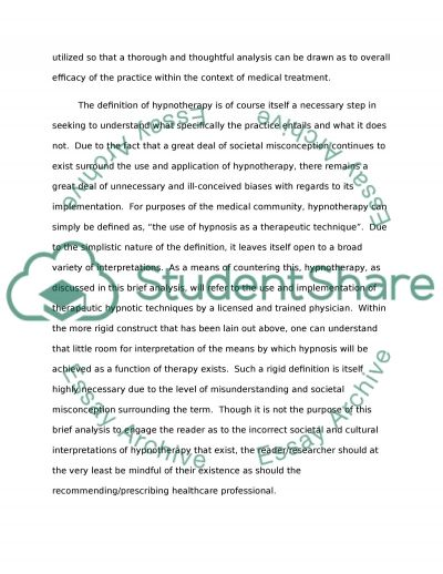 pain management and hypnosis Term Paper example
