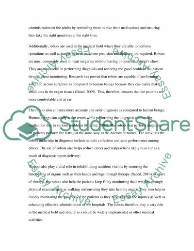 Term paper 1 for an Academic writing class (Advantages Of Using Robots In Future)