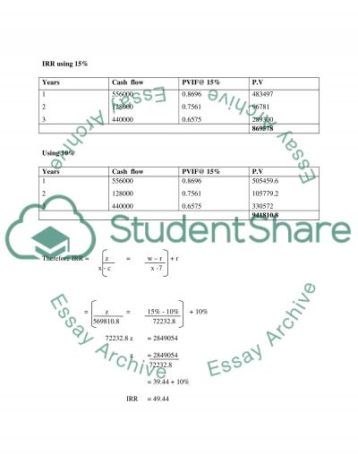 Duke Company: Calculations for the Project essay example