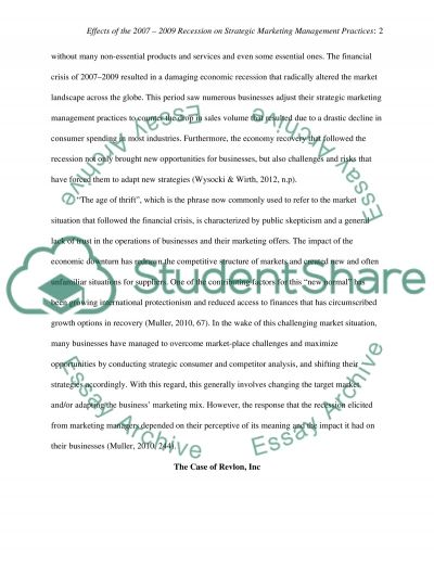 Effects of the 2007 2009 Recession on Strategic Marketing Management Practices essay example