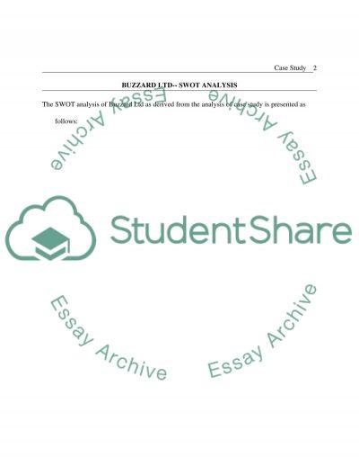 SWOT analysis of Buzzard Ltd essay example