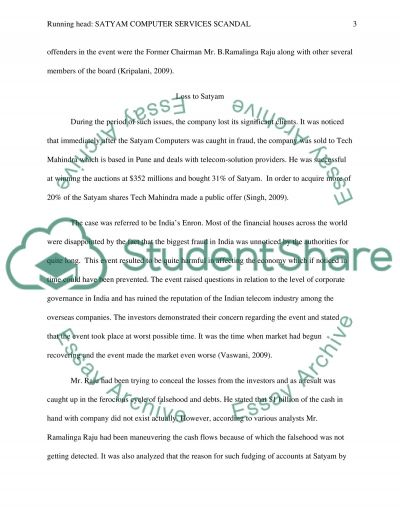 SATYAM COMPUTER SERVICES SCANDAL essay example
