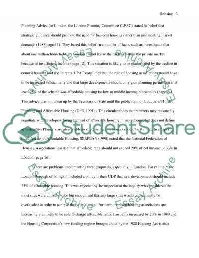 Housing essay example