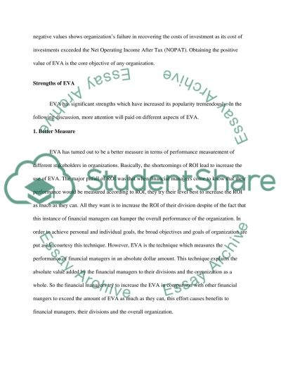 The Strengths, Weaknesses and Uses of the Economic Value Added (EVA) Mode essay example