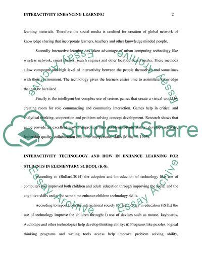 Interactivity Enhancing Learning