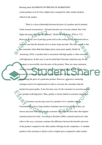 Elements of pricing in marketing essay example