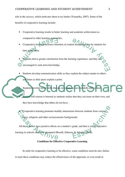 Cooperative Learning and Student Achievement