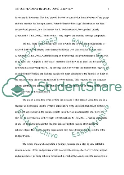 Effectiveness of Business Communication essay example