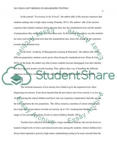No Child Left Behind standardized testing essay example