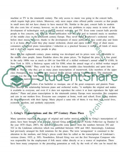 Piano Transcription in the 19th century Europe essay example