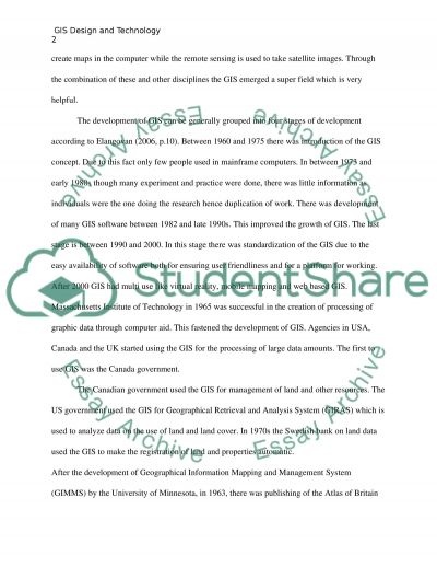 GIS design and technology Essay example
