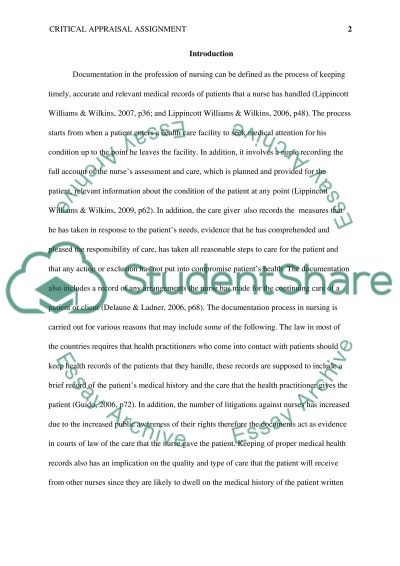 critical appraisal assignment essay example - Example Of Critical Appraisal Essay