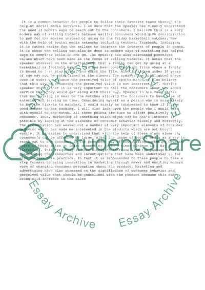 Speaker presentation response paper