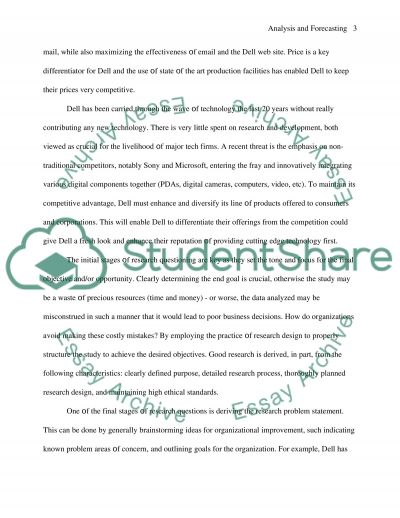 Analysis and forecasting essay example