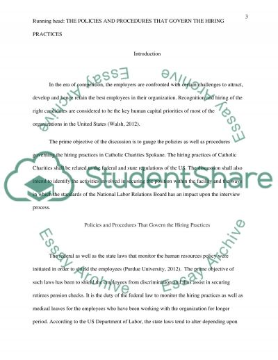 The Policies and Procedures that Govern the Hiring Practices essay example