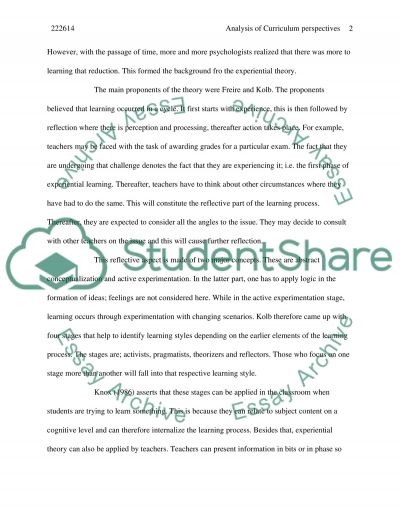 Analysis of Curriculum Perspectives essay example