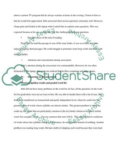 Informal Reading Assessment Case Study