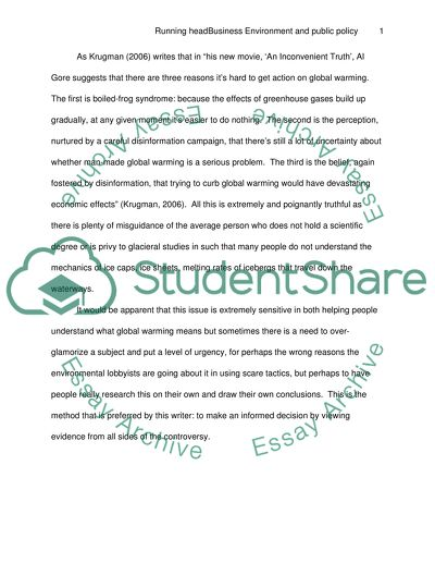 Business Environment and Public Policy Essay