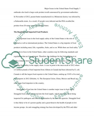 Major Issues in the United States Food Supply essay example