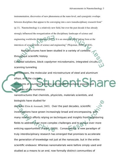 Advancements in Nanotechnology essay example