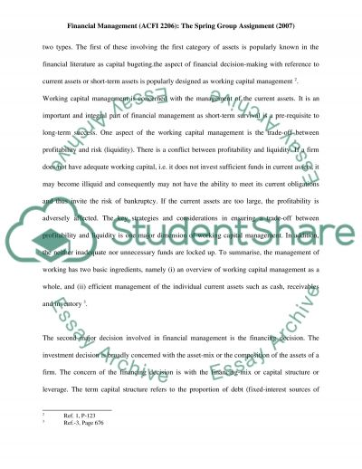 Financial Management - The Spring Group Assignment essay example