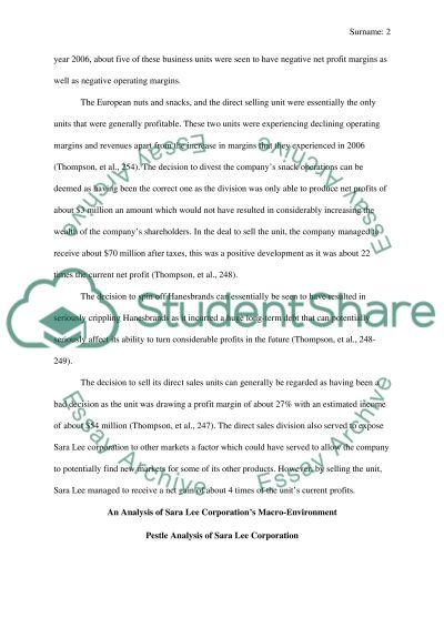 Sara Lee Corporation essay example