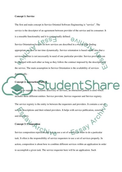Service Oriented Software Engineering essay example