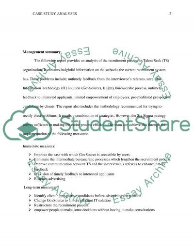 Case Study Analysis essay example