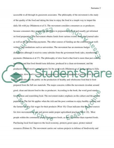 Slow Food Movement essay example