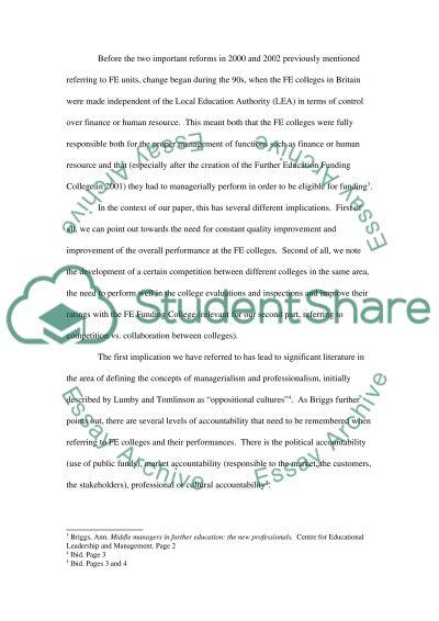 FE College teaching essay example