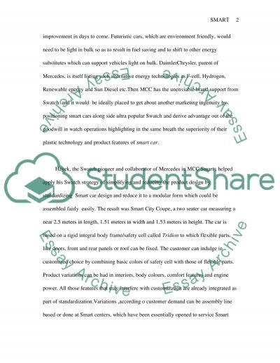 Course exercise: Smart Car essay example