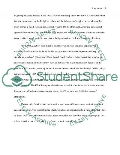 Comparison the education between saudi arabia and usa
