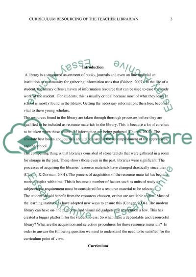 The curriculum resourcing of the teacher librarian essay example