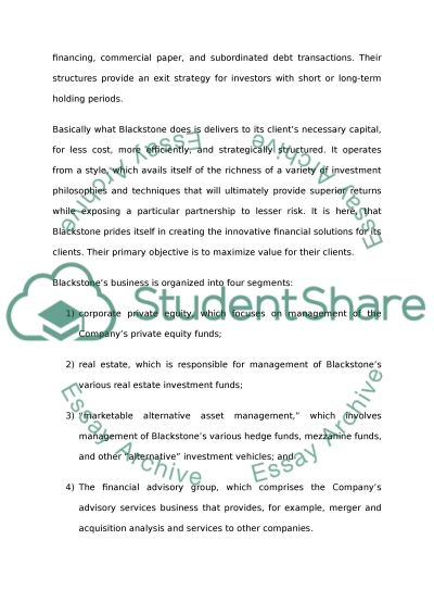 The Structure and Business of Blackstone essay example