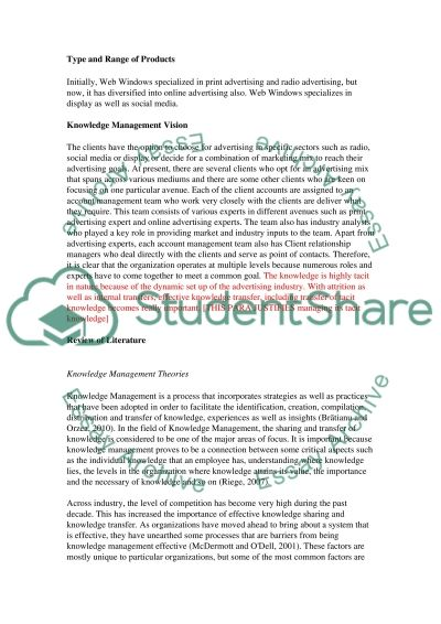 Information and knowledge management for managers essay example