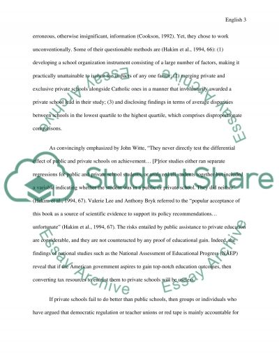 public and private education essay Get an answer for 'what is a good thesis statement for an argumentative essay on public schools vs private schools' and find homework help for other essay lab questions at enotes.