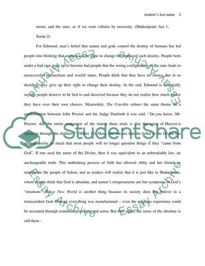 English Creative Writing Essays Literary Comparative Essay On Brave New World King Lear And The Crucible   Subject Good High School Essays also The Importance Of Learning English Essay Literary Comparative Essay On Brave New World King Lear And The Thesis Statement Essay