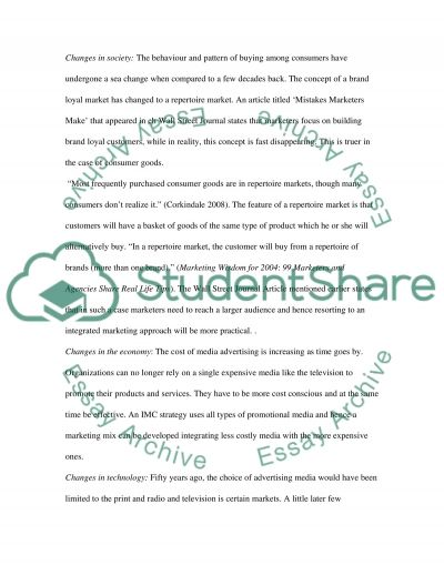 Integrated marketing communication Essay example