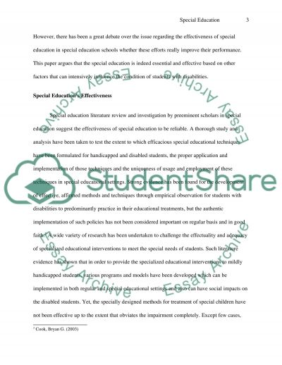 How Effective is Special Education essay example