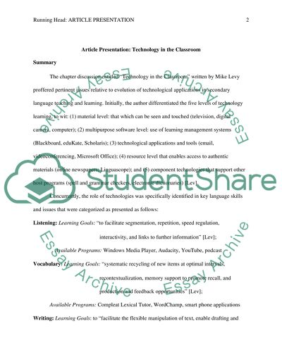 Course: Second Language Teaching/Article Presentation