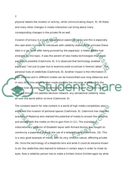 How media affects to private life essay example