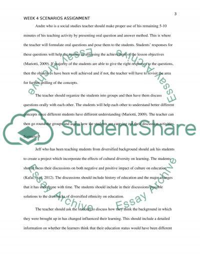 Teaching Scenarios Assignment essay example