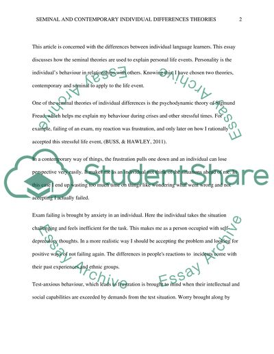 Health And Wellness Essay Critically Analyse How Useful Seminal And Contemporary Individual  Differences Theories Can Be When Making Sense Of English Essay Structure also Essay On Health And Fitness Critically Analyse How Useful Seminal And Contemporary Individual Essay Example Of A Proposal Essay