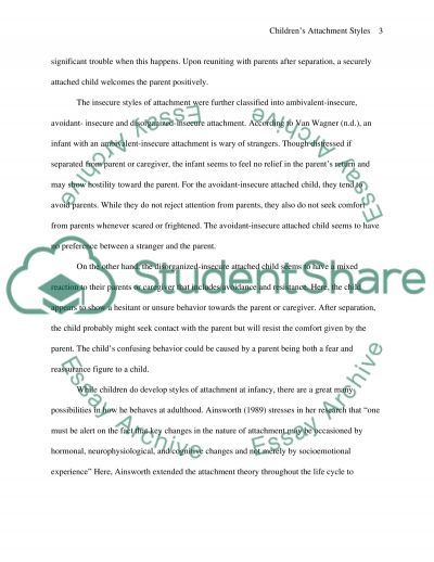 Childrens Attachment Styles Essay example
