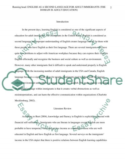 English as a Second Language for Adult Immigrants (The Domain is Adult Education) essay example