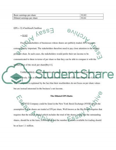 Earnings per share for xyz Company essay example